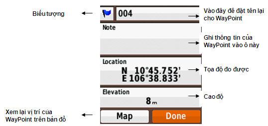 Lưu trữ điểm đo trên máy GPS