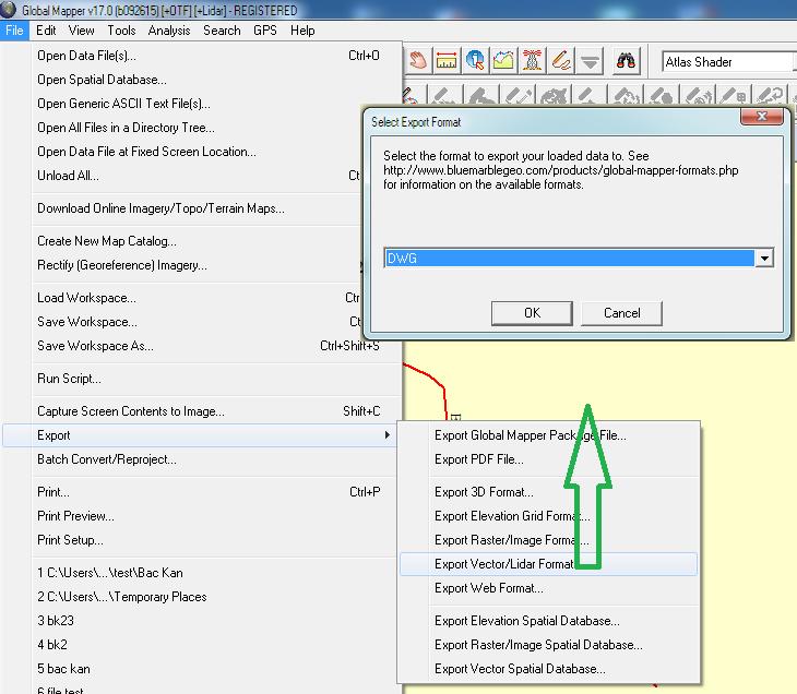 xuat sang file dxf trên phần mềm global mapper